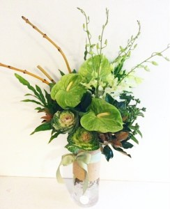 Corporate Vase Arrangement in Green - A Touch of Class Florist