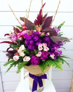 Large Vase Arrangement in Vibrant Tones - A Touch of Class Florist Functions
