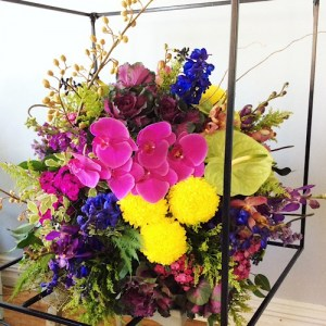 Sphere Arrangement in Industrial Cage for a Unique Function - A Touch of Class Florist