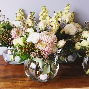 Soft and Pretty Fishbowl Arrangements going out to a an elegant function. - A Touch of Class Florist