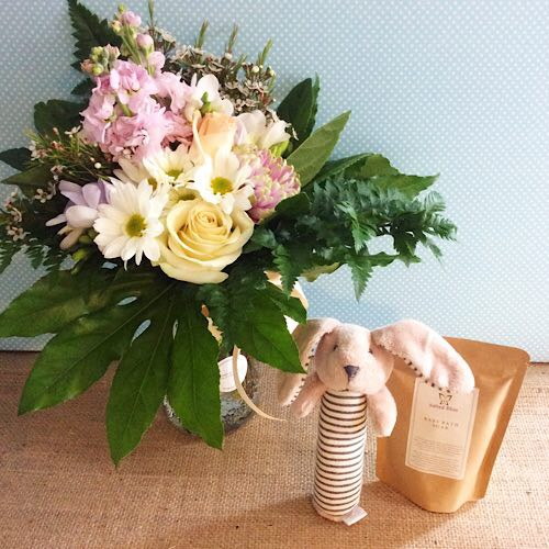 Baby Love Hamper with Bunny Rattle - A Touch of Class Florist