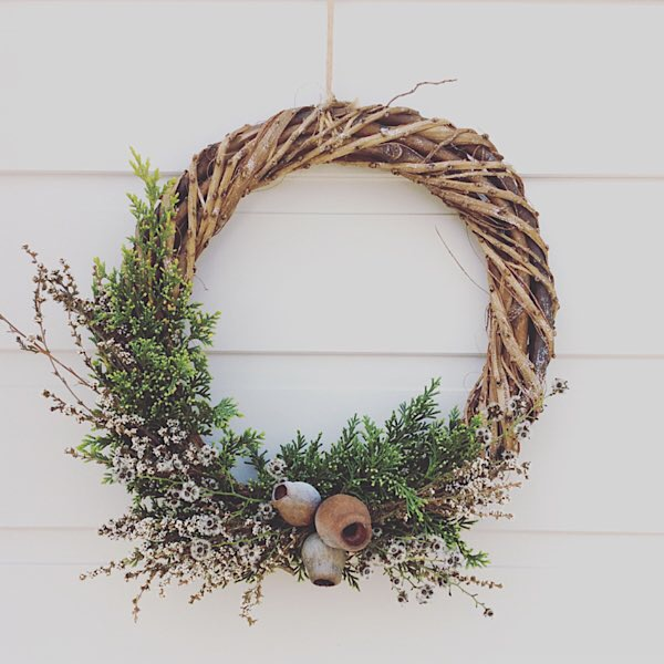 Dried Wildflower Festive Half Wreath - A Touch of Class Florist