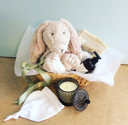 Babys Bunny Bundle Hamper contains a beautiful plush bunny for baby and a number of loverly items for the new Mum - A Touch of Class Florist