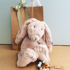 Snuggle Time Gift Bag contains a plush bunny from Nana Huchy and a teething ring from Nature Bubz - A Touch of Class Florist