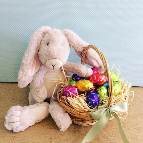 Easter Bunny Basket, contains a Nana Huchy soft toy bunny and a basket of easter eggs - A Touch of Class Florist