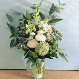 White and Green Jam Jar Arrangement - A Touch of Class Florist Perth