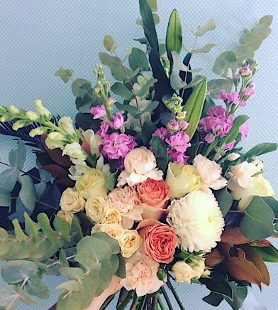 Gorgeous hand-tied bouquet in seasonal pastel tones - A touch of Class florist Perth