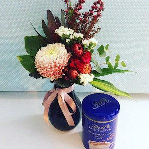 Sweet Thoughts gift combination of a small vase of flowers and a tin of hot chocolate - A touch of Class Florist Perth