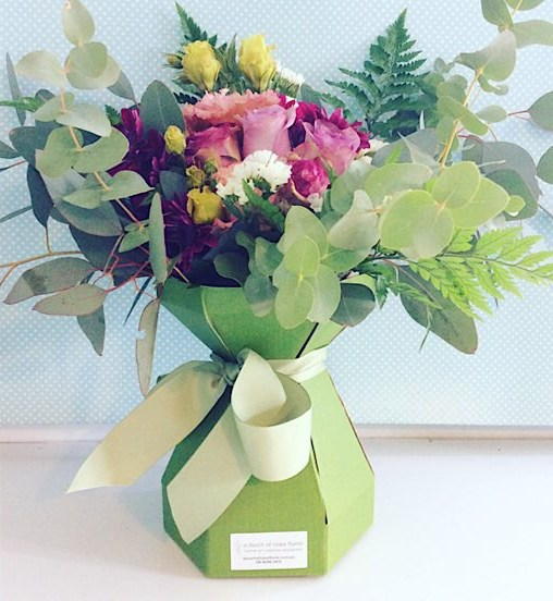 Berri-licious Arrangement is a pink floral arramngement with a touch of lilac or purple made into a card vase - A Touch of Class florist Perth