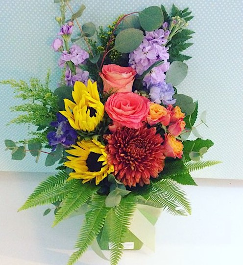 Bright Posy Box Arrangement in a card vase - A Touch of Class Florist Perth