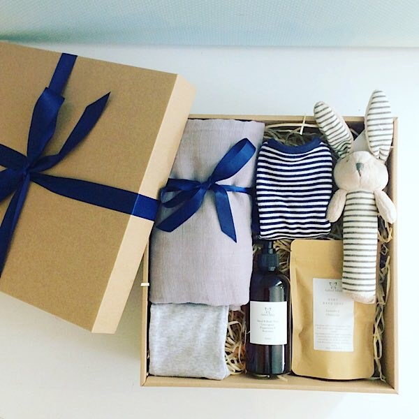 Baby Box in Blues is a stylish baby hamper with lovely treats for the new little one - A Touch of Class Florist Perth