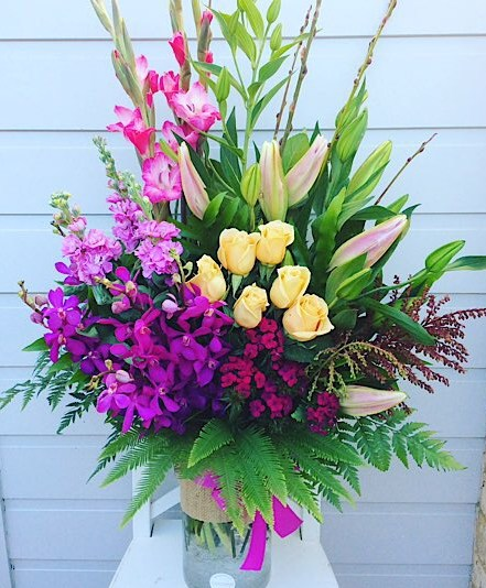 Raspberry Ripple Vase Arrangement contains groupings of blooms in pink, purplesand peaches - A Touch of Class Florist