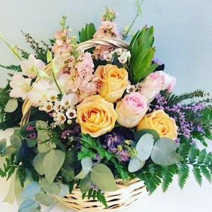 Softly Serene Flower Basket Deluxe Value is a modern take on a tradional basket arrangement in soft pastel toned blooms - A Touch of class florist Perth