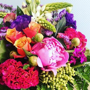 Seasonal Fishbowl in Jewel Tones is an arrangement of bright and bold colours - A Touch of Class Florist Perth