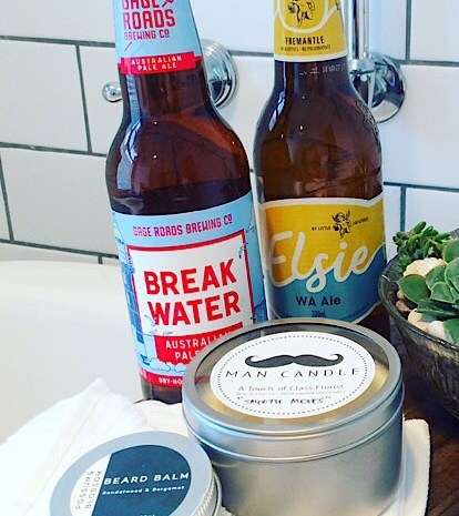 Gentlemans Hamper includes 2 craft beers, a man candle and a small tin of beard balm - A Touch of Class Florist