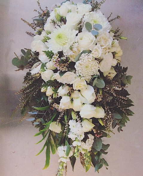Teardrop Tribute Supreme Value - a teardop sympathy tribute in white seasonal blooms - A Touch of Class Florist Perth