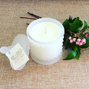 Bear and Finn Scented Candle in Peony Rose hand poured into a re-usable frosted or clear geo cut vanity jar - A touch of Class Florist Perth