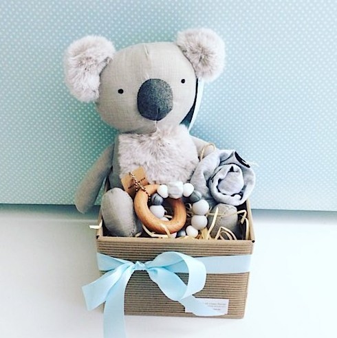 Baby Aussie Bundle in Blue includes Keith the Koala from Nana Huchy, a teething ring from Natre Bubz and an item of baby clothing gift wrapped in a box for you - A Touch of Class Florist Perth