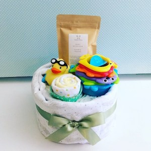 Bath Time Nappy Cake in Neutrals includes newborn nappies, a baby wrap, a baby bath soak from Salted Bliss, a couple of face washers and a couple of bath time toys - A Touch of Class Florist Perth