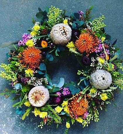 Wildflower Wreath is made from seasonal native and native like blooms. They are highly seasonal and therefore will vary greatly in availability. Please give us a call if you would like to check what is in season 9256 2415 - A Touch of Class Florist Perth