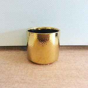 Gold Ceramic Pot is a gold cylinder pot approximatley 12cm x 13cm - A Touch of Class Florist Perth
