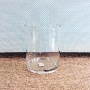 Short Glass Cylinder Vase is approximately 16cm high and 13cm wide - A Touch of Class Florist Perth