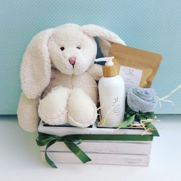 Bella Bunny Baby Box is a cute and useful Baby Hamper. Includes a bella bunny from nana huchy toys, an item of baby clothing, 2 items of salted Bliss body and bath products, one for mum and one for Baby - A Touch of Class Florist Perth