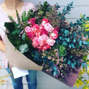 Pink Rose Bouquet is a gorgeous mix of pink toned roses with bountiful greenery - A Touch of Class florist Perth