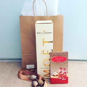 Secret Santa Hamper with all the bubbles includes a bottle of Moet Champagne and some Festive chocolates