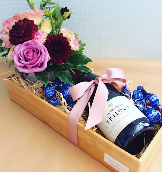 Just for you - Love Edition Wooden box with fresh flower arrangement, sparkling wine and some chocolates - A Touch of Class Florist Perth