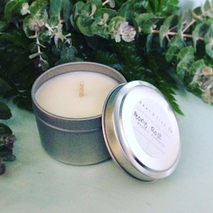 Peony Rose Scented Soy Candle Mini Tin - Bear And Finn approximately 6.5cm in diameter
