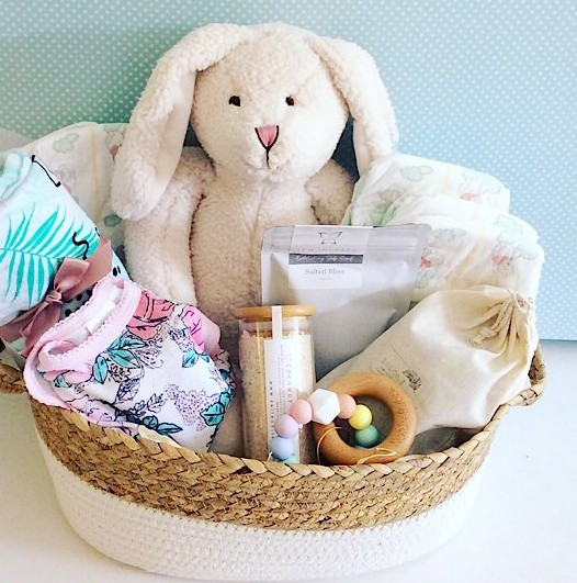 Classic Baby Hamper in Pinks is a full of useful gifts for a newborn baby and for Mum as well - A Touch of Class Florist Perth