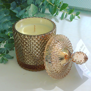 Bear and Finn Candle Antique Bronze geo cut jar