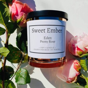 Sweet Ember Scented Soy Candle- Eden Peony Rose