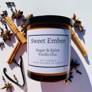 Sweet Ember Scented Soy Candle- Sugar and Spice Vanilla Chai