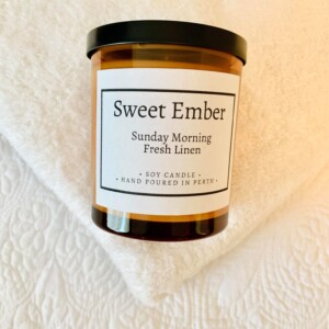 Sweet Ember Scented Soy Candle- Sunday Morning Fresh Linen