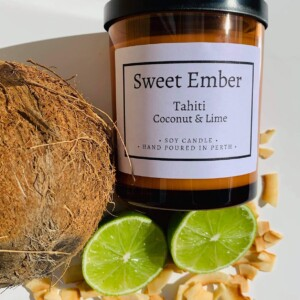 Sweet Ember Scented Soy Candle- Tahiti Coconut and Lime