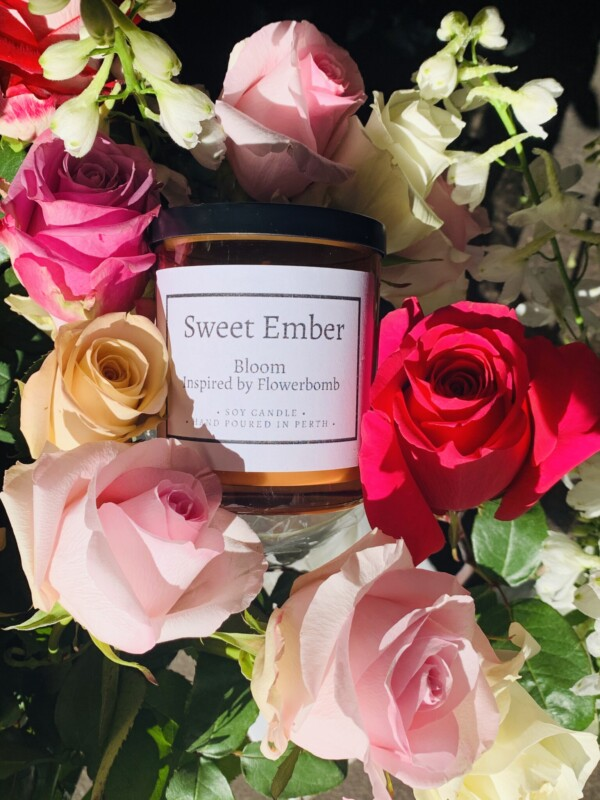 Sweet Ember Scented soy Candle - Bloom is a floral perfumed scent guaranteed to delight - A Touch of Class Florist Perth