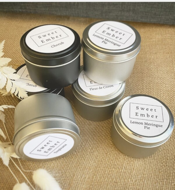 Sweet Ember Mini tin candle in assorted scents - A Touch of Class florist Perth