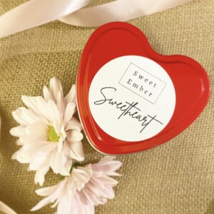 Sweet Ember Candle in Cherry Blossom Scent presented in Red heart Shaped tin