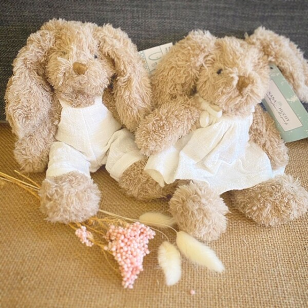 Baby Honey Bunnies by Nana Huchy come in either a linen smock or dungarees. If you have a preference please let us know. 9256 2415 A Touch of Class Florist