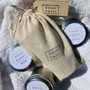 Sweet Ember Candle - Soft Scents Trio Tins. Three mini tins of hand poured soy candles in soft and calming scents.