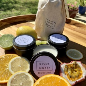 Sweet Ember Candle -Zesty Trio Tins. Three mini tins of hand poured soy candles in fresh, zesty scents.